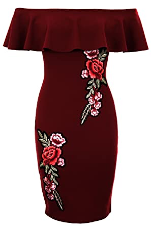 54e9c4b2cbb74 SAPPHIRE BOUTIQUE ® Ladies Off Shoulder Frill Ruffle Floral Flower Bardot  Crepe Textured Bodycon Dress [Wine, UK 10]: Amazon.co.uk: Clothing