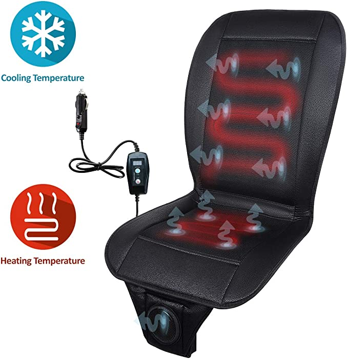 Zone Tech 2-in-1 Car Seat Cushion - Black 12V Automotive All-Weather Adjustable Temperature Comfortable Cooling and Heating Car Seat Cushion Perfect for Road Trip