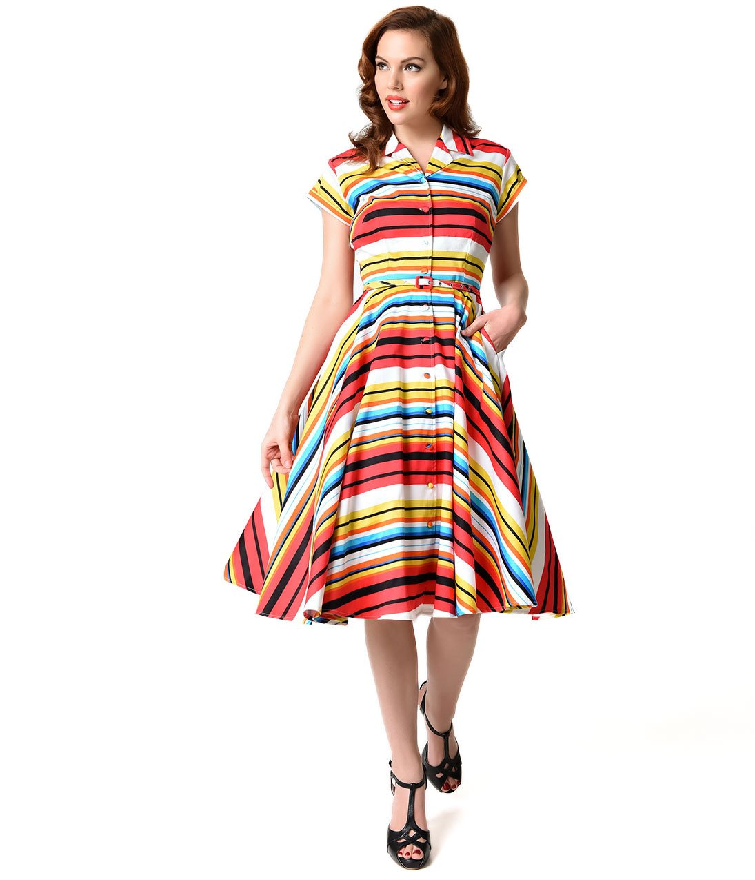 Unique Vintage 1950s Style Multicolor Stripe Short Sleeve Del Rey Shirtdress by Unique Vintage