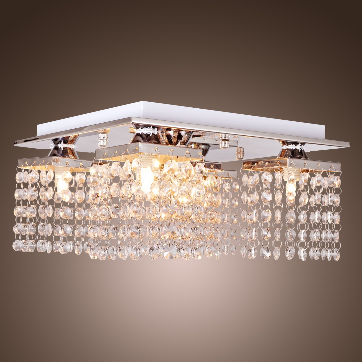 LightInTheBox Crystal Ceiling Light with 5 lights Electroplated Finish, Modern Flush Mount Ceiling Lights Fixture for Hallway, Bedroom, Living Room with Bulb Included by LightInTheBox