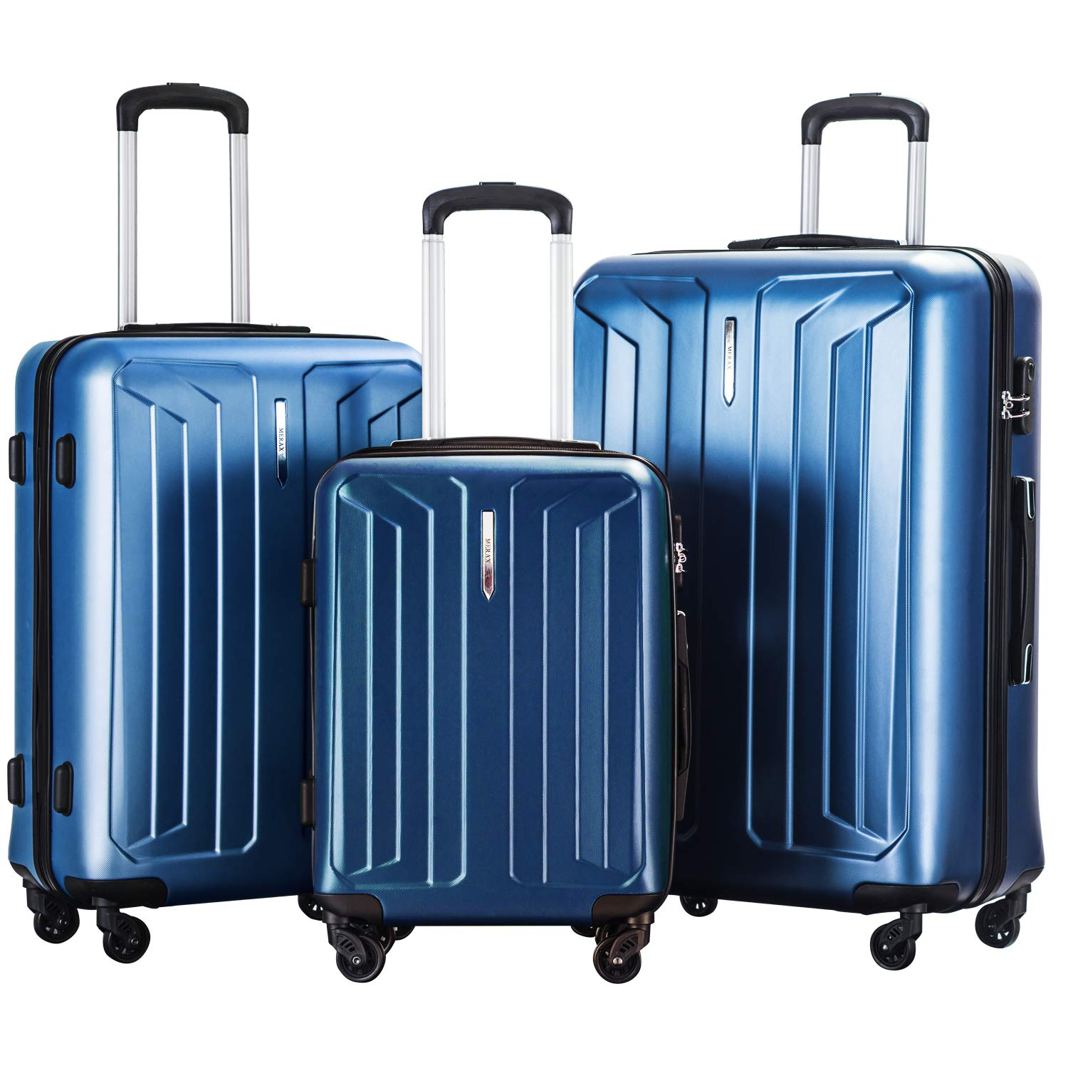 Luggage Set 3 Pieces Hard Shell Lightweight 4 Wheels Spinner Travel Trolley Suitcase Set (20+24+28) (Blue)
