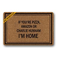 Artsbaba Doormat If You're Pizza Amazon Or Charlie Hunnam I'm Home Door Mat Rubber Non-Slip Entrance Rug Floor Door Mat Funny Home Decor Indoor Mats 23.6 x 15.7 Inches
