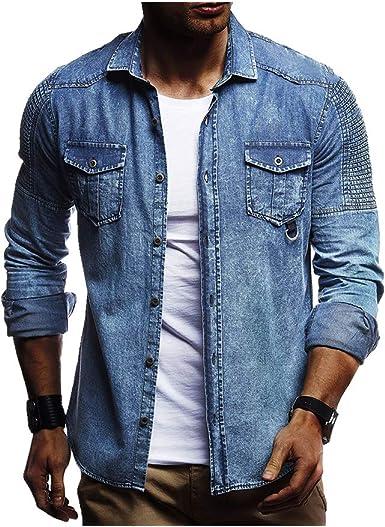 NOBRAND Camisa vaquera de manga larga plisada de color liso ...