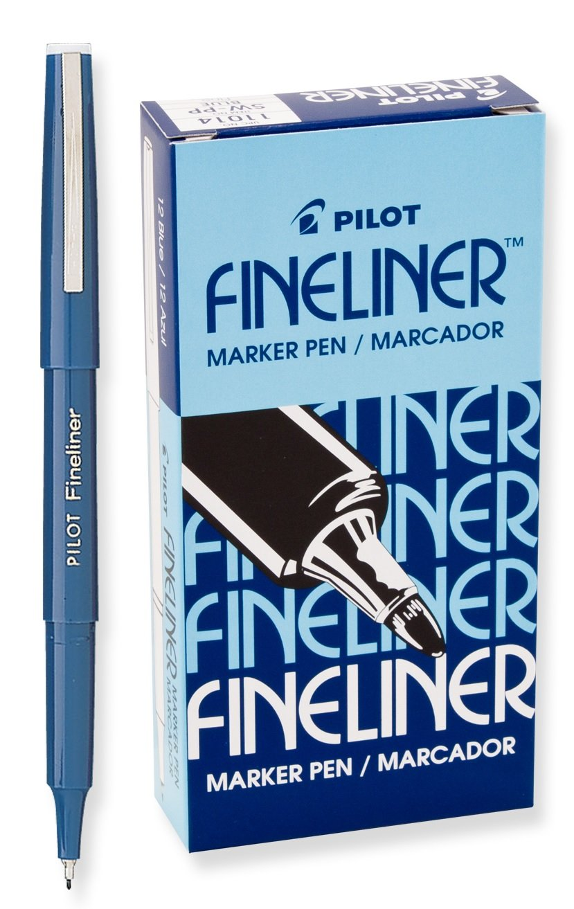 12 x Pilot Fineliner Marker Pens, Fine Point, Blue Ink