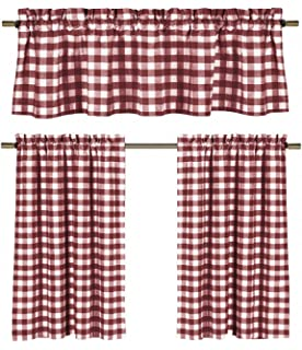 GoodGram 3 Pc Plaid Country Chic Cotton Blend Kitchen Curtain Tier Valance Set