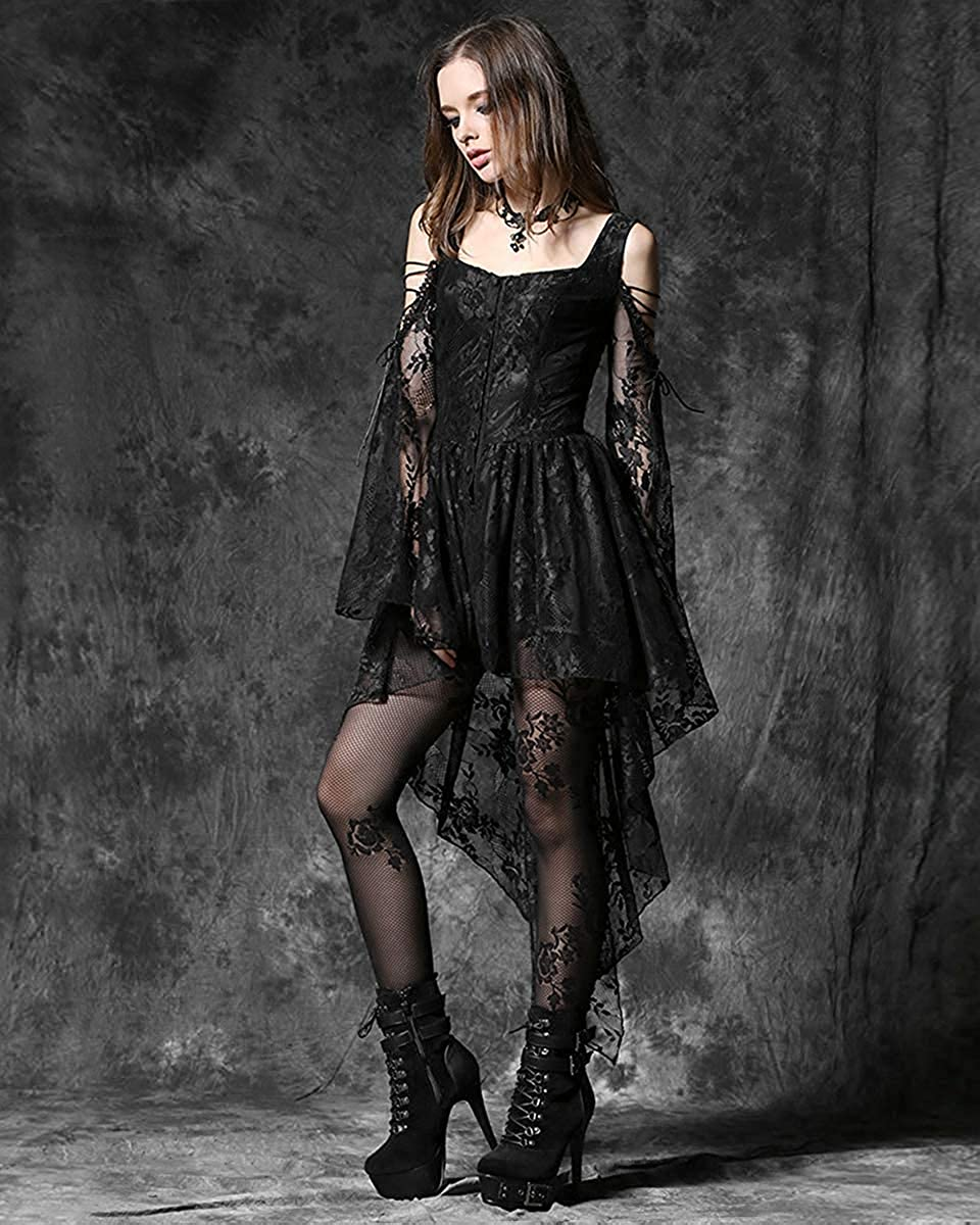 Dark In Love Womens Gothic Witch Top Black Long Sleeve Floral Lace VTG Vampire