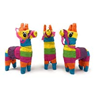 """Pack of 3 Mini Donkey Pinatas, Cinco de Mayo Pinata Fiesta Decorations, Mexican Rainbow Donkeys, Great Party Favors Celebration Supplies, 4""""x7"""" inches, By 4E's Novelty"""