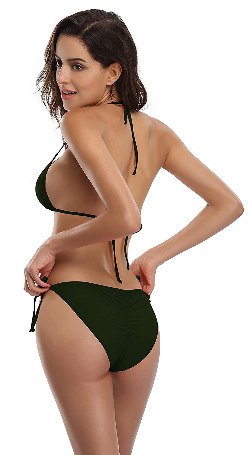 c75cda904062 Amazon.com  SHEKINI Women s Tie Side Bottom Padded Top Triangle Bikini  Bathing Suit  Clothing