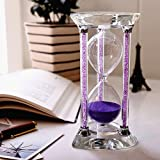 BORWAY 30 Minute Hourglass Timer, Heart Shaped Sands Timer with Sparkling Pillars, Eye-Catchy Purple Sands Clock for Home Kitchen Office Décor Christmas Gift (30 Min, Purple, 1 Pack)
