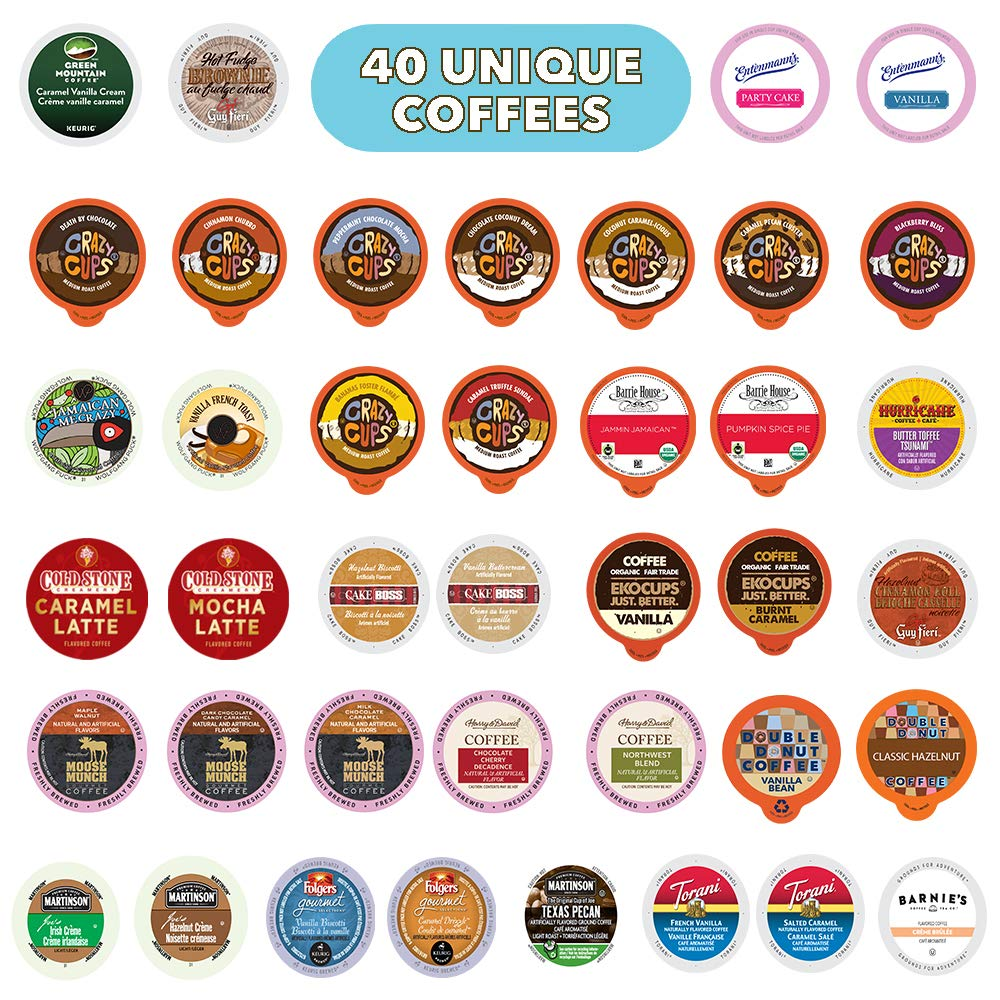 Flavored Coffee Pods Variety Pack,100% Compatible With Keurig K Cups Brewers, 40 Unique Flavored Coffees - No Duplicates, Perfect Flavored Coffee Lovers Gift