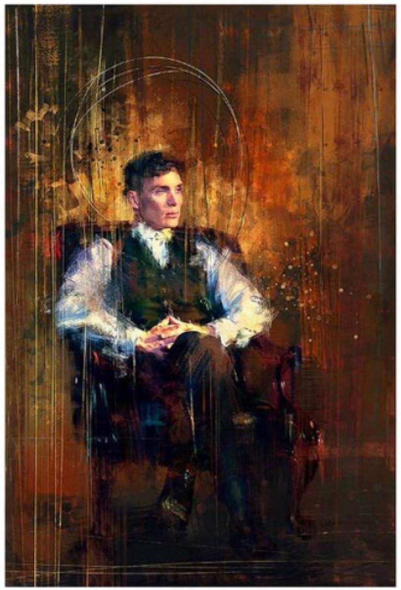 ASLKUYT Pinturas artísticas de Tommy Shelby impresas en lienzo, carteles artísticos e impresiones Peaky Blinders, cuadro en lienzo para pared para sala de estar, 24 x 32 pulgadas, sin marco
