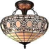 Amora Lighting AM230HL16 Tiffany-Style Semi-Flush Mount Ceiling Fixture Tiffany Tiffany-Style Semi-Flush Mount Ceiling Fixture