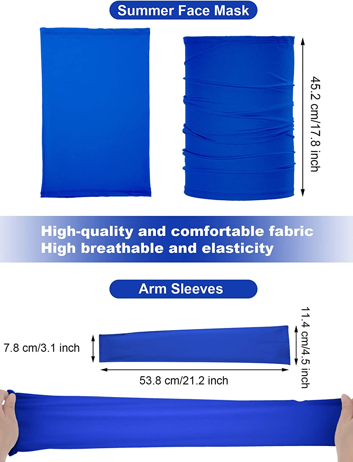 UV Protection Neck Gaiter and Sleeves for Outdoor Summer Bandana Face Mask Cooling Arm Sleeves