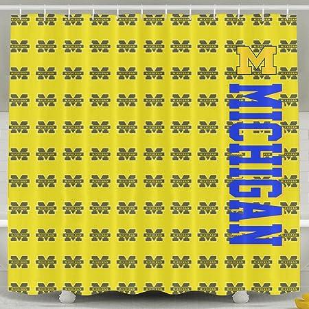 IWKULAD University Of Michigan UMich U M Wolverines Logo Customized Shower Curtains