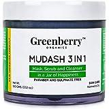 Greenberry Organics Mudash 3 IN 1 Mask, Scrub & Cleanser, 100g