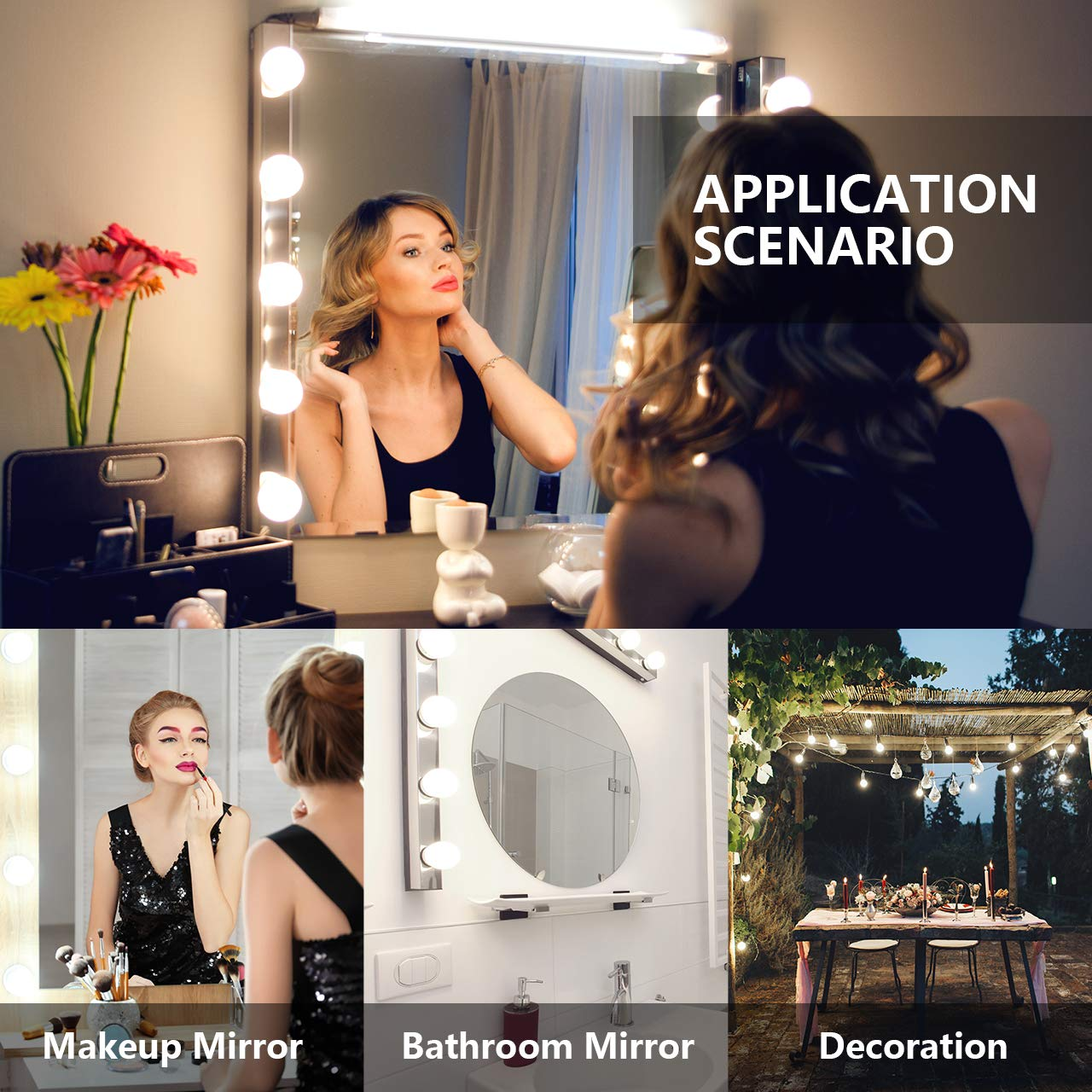 Nicewell Vanity Mirror Lights, Hollywood Style LED Makeup Mirror Lights Kit with 10 Dimmable Daylight White Light Bulbs for Vanity Table and Bathroom Dressing Room Mirror(Mirror not Included) by Nicewell (Image #7)