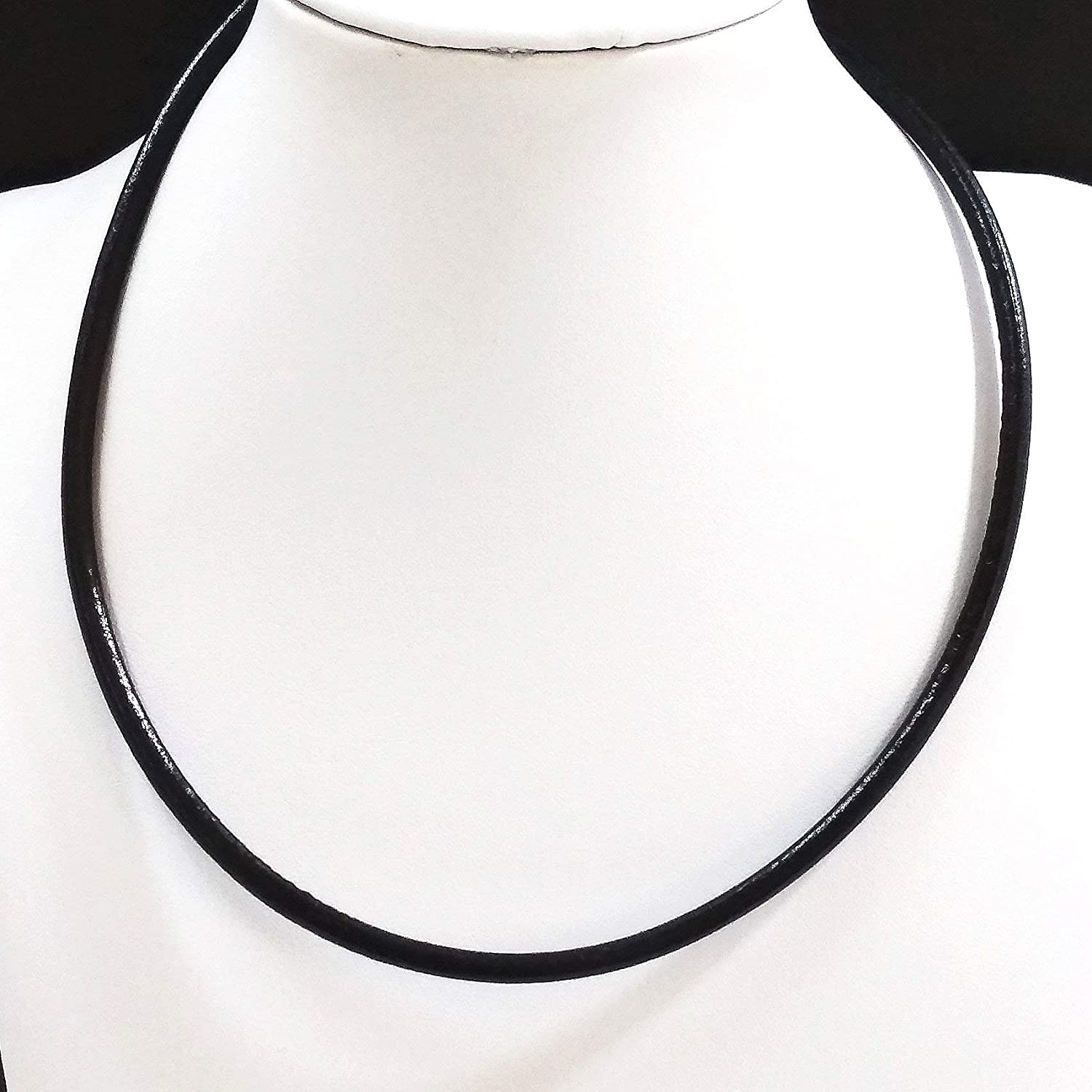 Leather Necklace-Black Leather and Silver Pendant-Woman/'s Leather Necklace-Leather and Silver-Tibetan Silver-Ox Horn Screw Pendant-ND57
