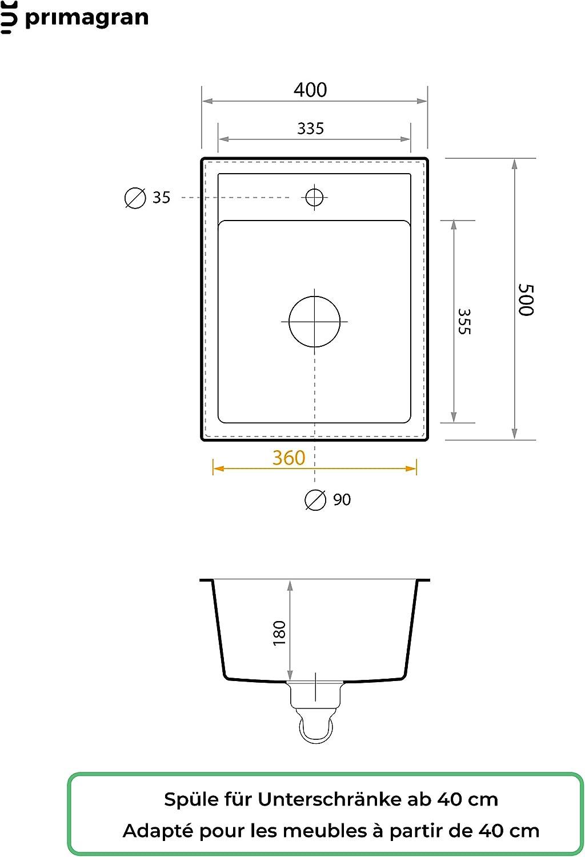 /Évier de Cuisine en Granit /à Encastrer Riga 1 Bac Sans /Égouttoir Beige Pour les Meubles /à Partir 40cm Inclus Siphon Classique Gain de Place et Trop-Plein de Primagran