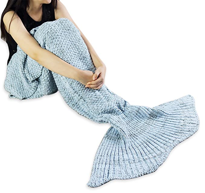 iEFiEL - Cola de sirena mantas hecha a mano Princesa Cosplay Disfraz suave saco de dormir para adultos y niños, azul celeste, adulto: Amazon.es: Hogar