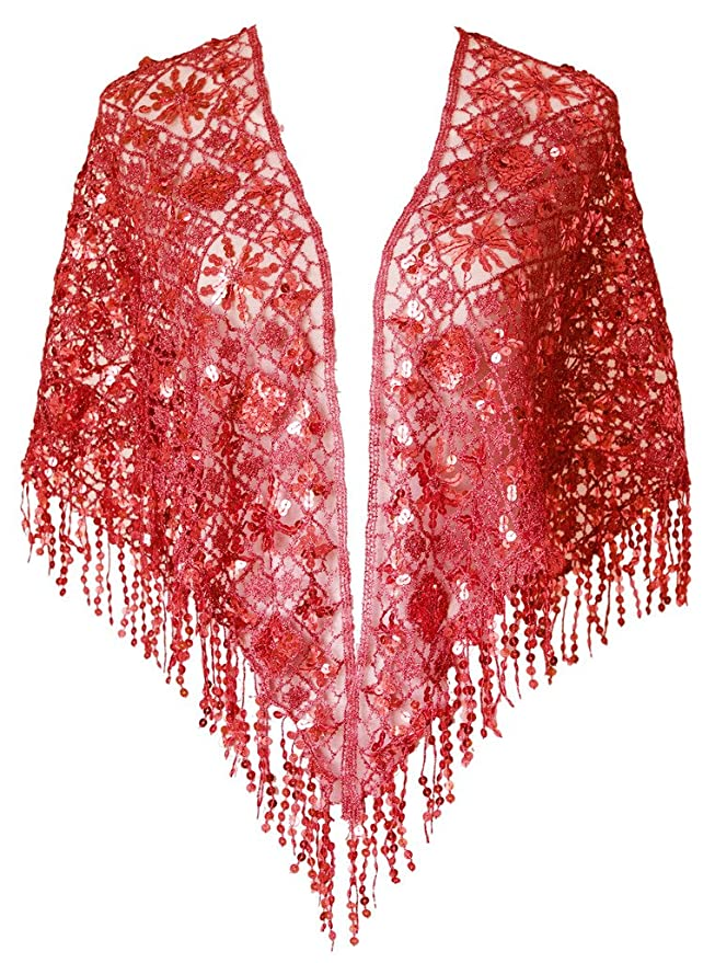 Vintage Scarf Styles -1920s to 1960s  Ruffle Sequins Evening Scarf Shawls A25 $25.99 AT vintagedancer.com
