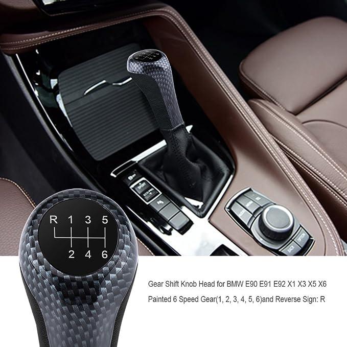6 Gang Auto Schaltknauf Stick Kopf f/ür E90 E91 E92 X1 X3 X5 X6 Kohlefaser Farbe Schaltknauf