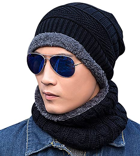 Loritta Men Beanie Hat Scarf Set Winter Warm Knit Hat