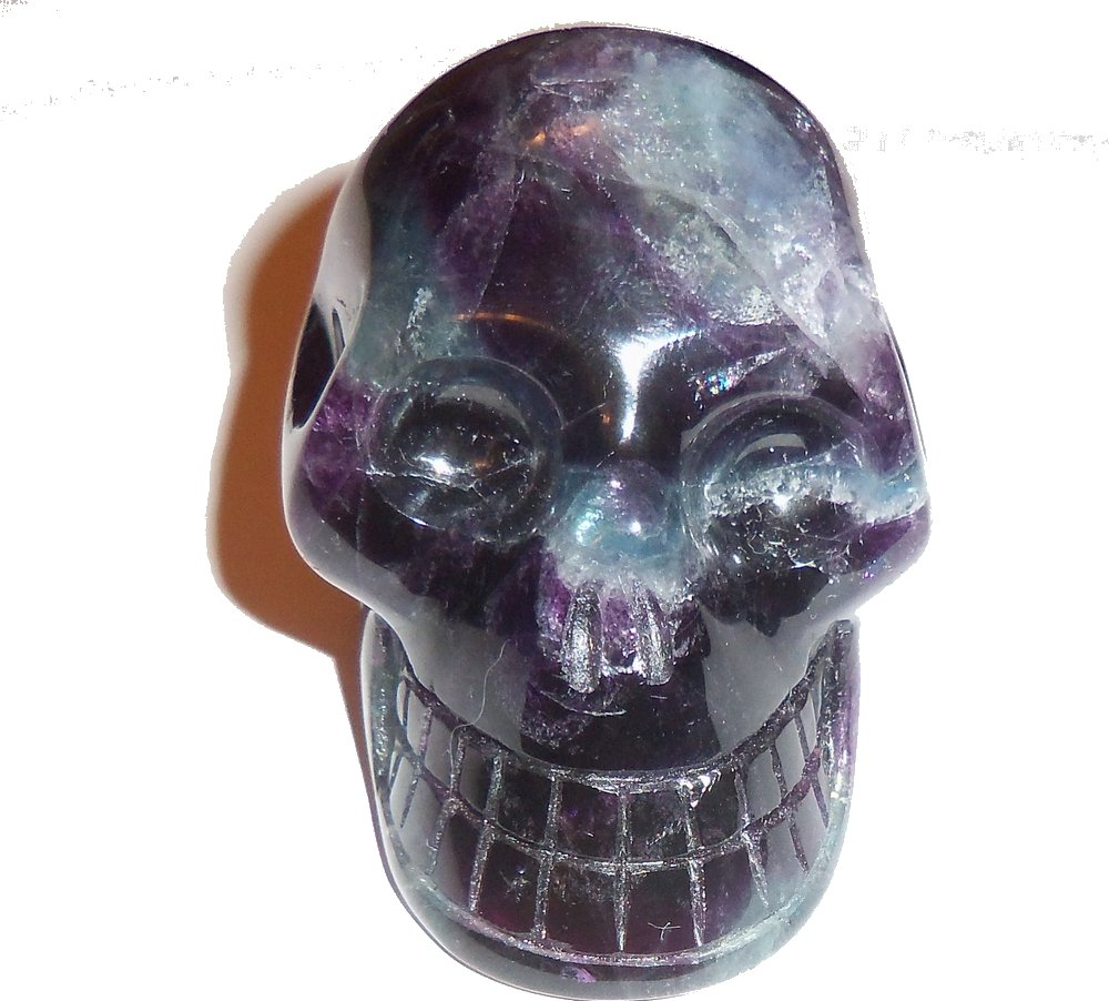 Fluorite Skull 02 Sacred Akashic Ancient Past Life Love Heart Healing Energy 2.6''