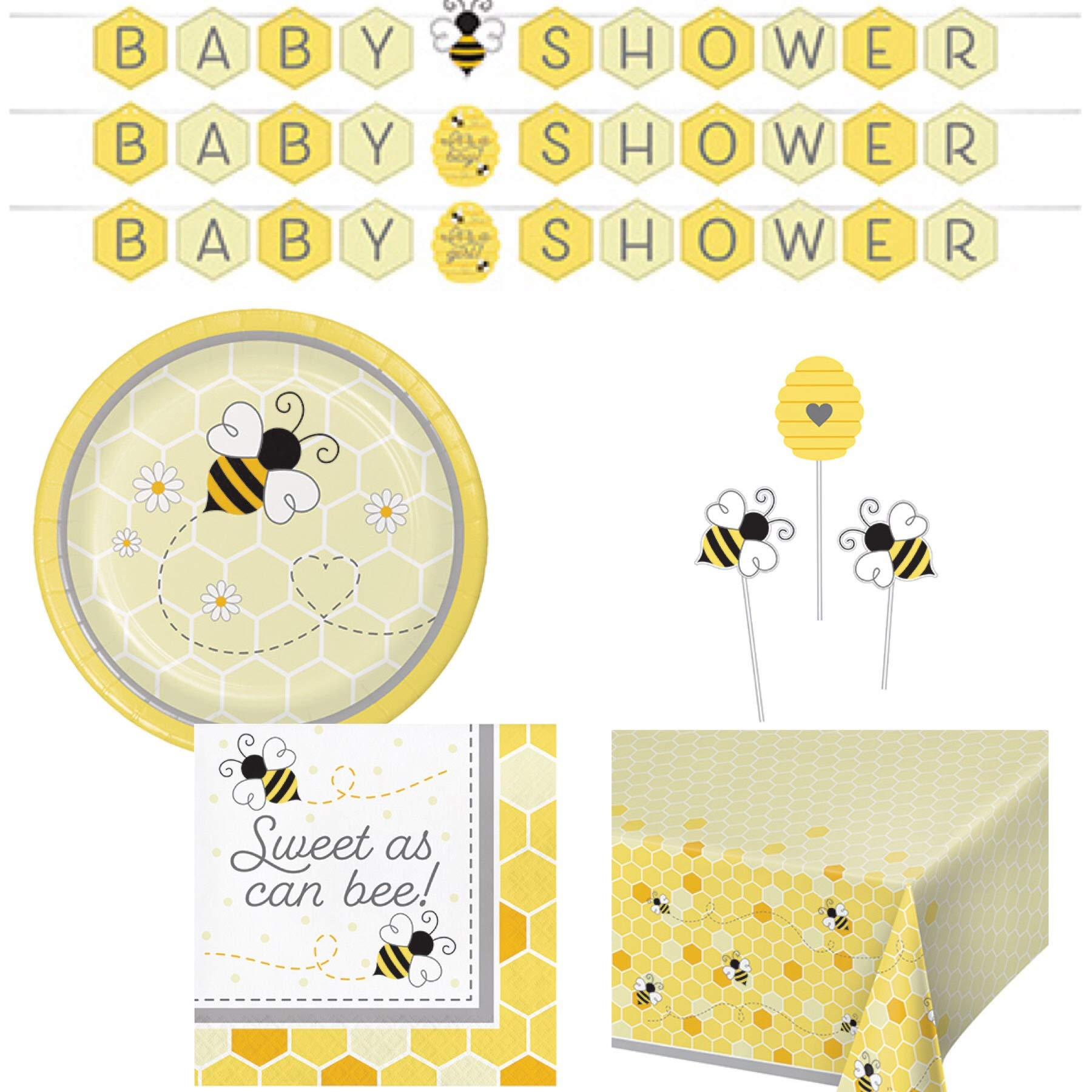 Olive Occasions Baby Bumble Bee Baby Shower Paper Disposable Party Supplies Serves 16 Plates, Napkins, Banner, Table Cover, Centerpiece Sticks, Grandma Olive's Multi-Generational Recipe