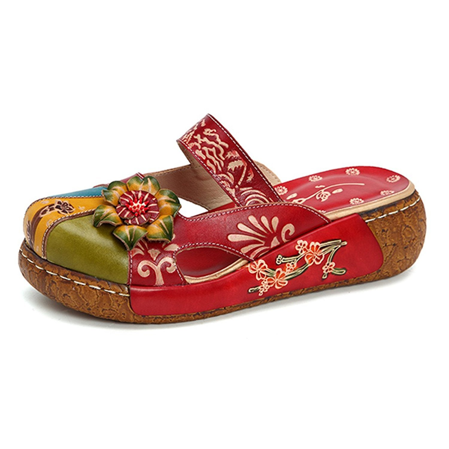 JINGFU Women's colorful Flower Vintage Slip-On Leather Hollow Out Backless Platform Sandals B07B2K8845 9 B(M) US|Red
