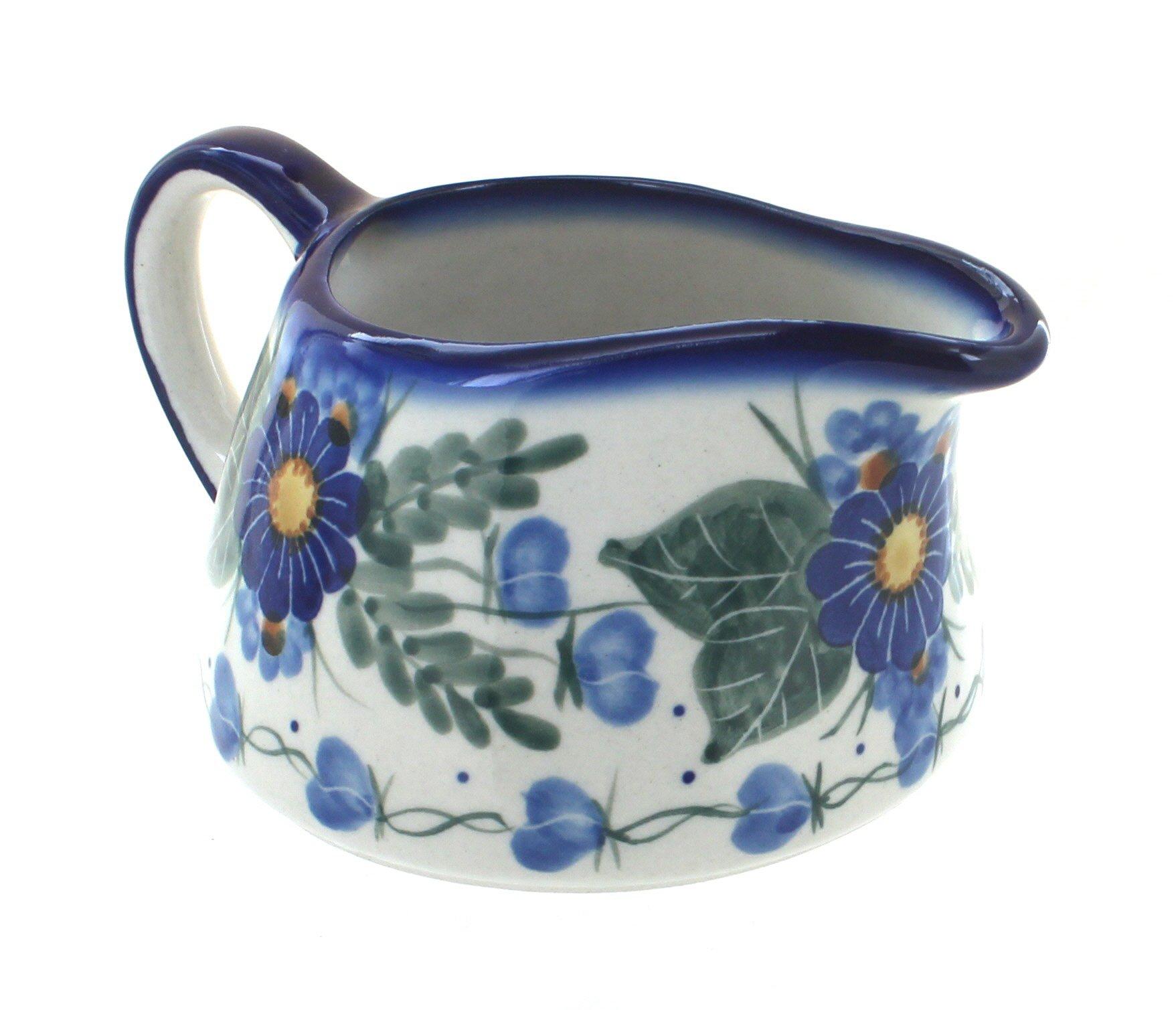 Blue Rose Polish Pottery Forget Me Not Gravy Boat