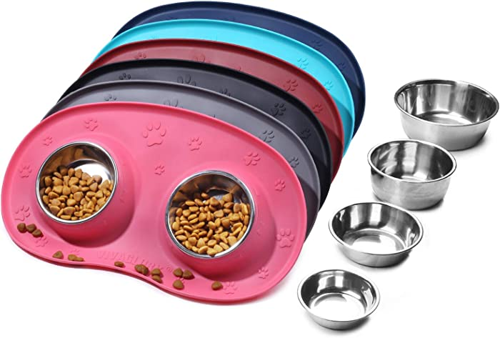 Vivaglory Dog Bowls Set with Double Stainless Steel Feeder Bowls and Wider Non Skid Spill Proof Silicone Mat for Cats Puppies Dogs