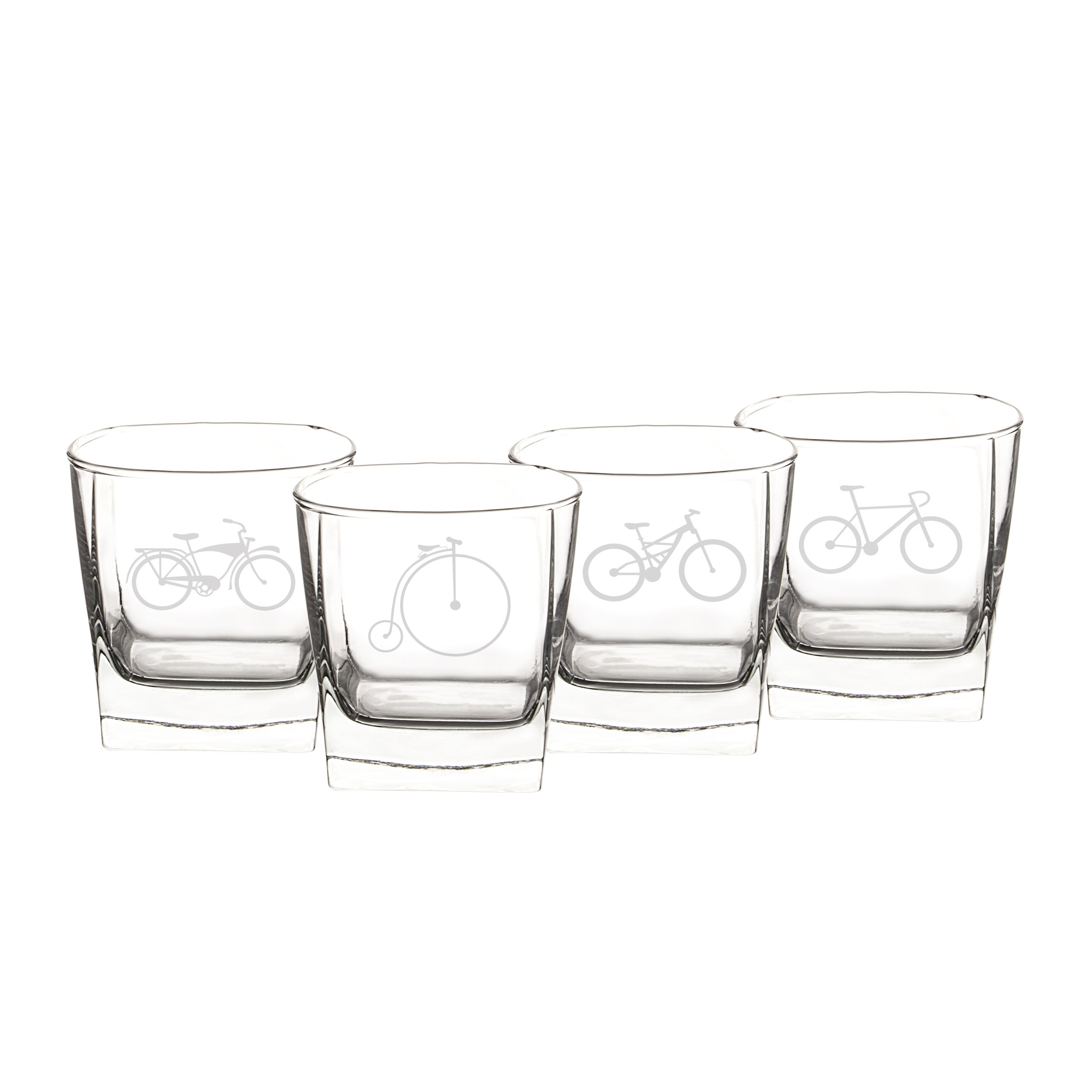 Cathy's Concepts Bicycle Rocks Glasses (Set of 4)