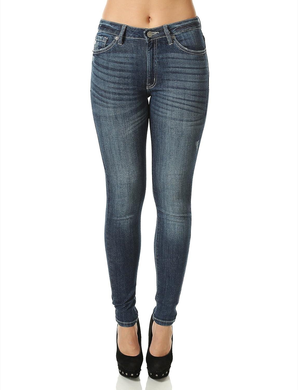FHn Love Women's Dark Wash Distressed Denim Medium Rise Skinny Jeans