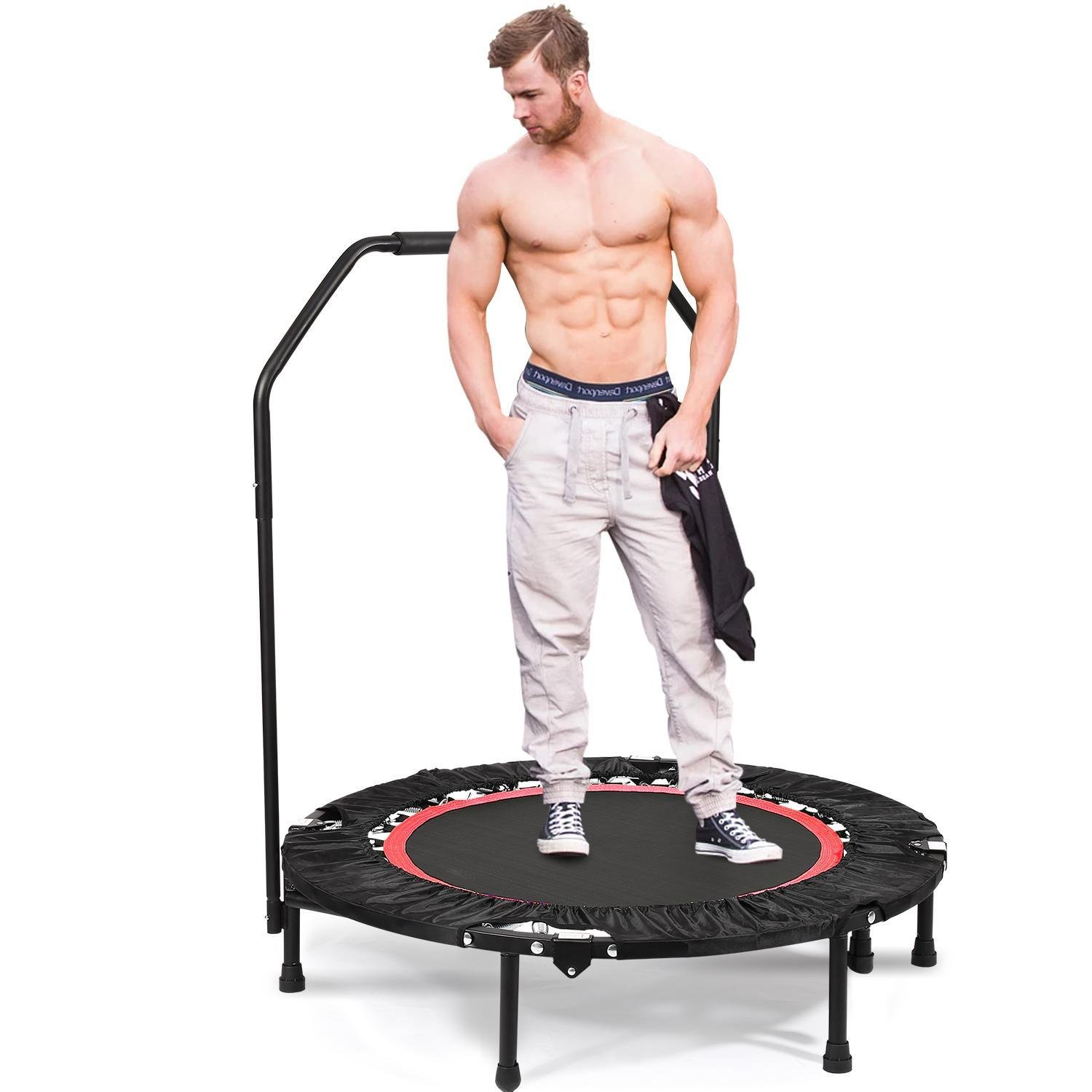 Folding Mini Trampoline with Handle Bar Fitness Rebounder Trampoline Cardio Workout Training for Kids or Adults Zero Stretch Jump Mat (Red)