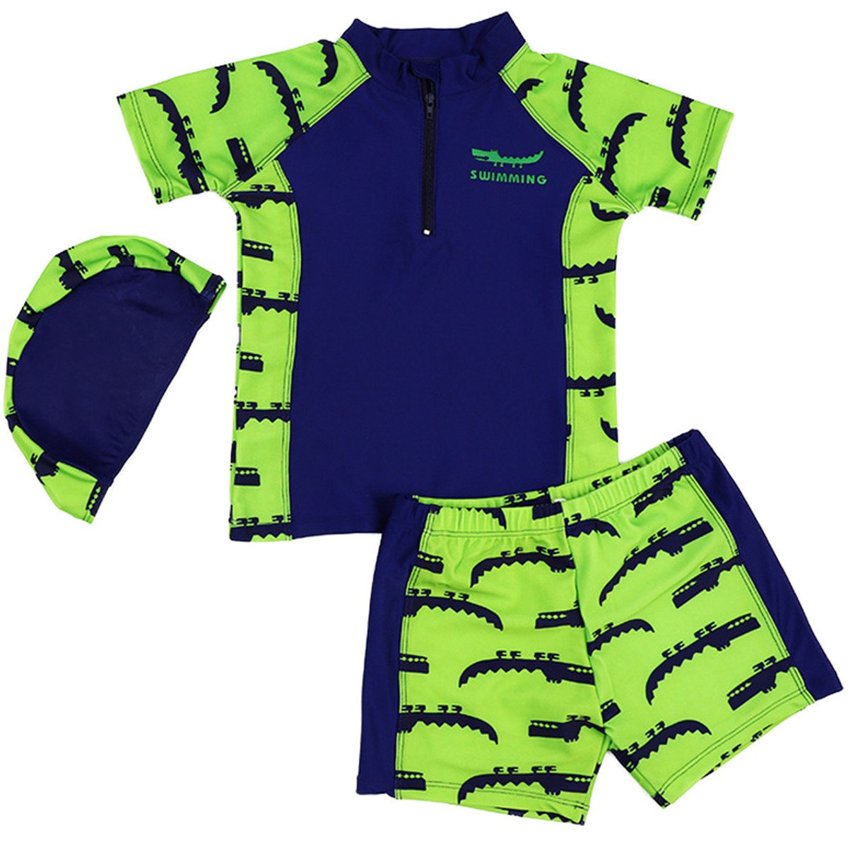Baby Kids Little Boys Two Pieces Green Short Sleeve Sun Protection Swimsuit UV Rash Guard With Caps GHTZF190