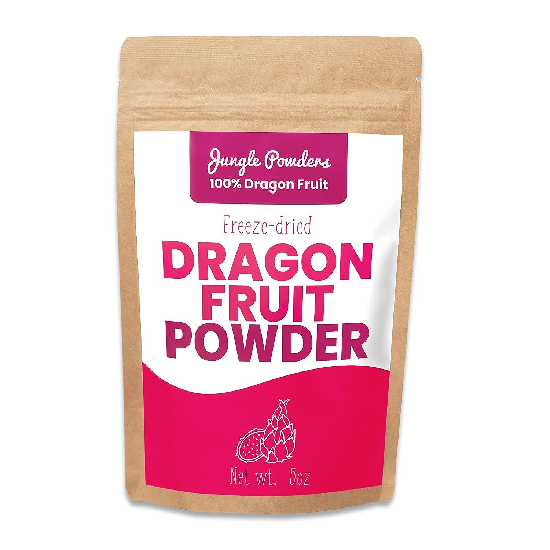 Jungle Powders Dragon Fruit Powder 5oz 100% Freeze Dried Fruit Powder For Pink Pitaya Smoothie Organic Fruit Bowls - Powdered Red Dragon Fruit Exotic Superfood