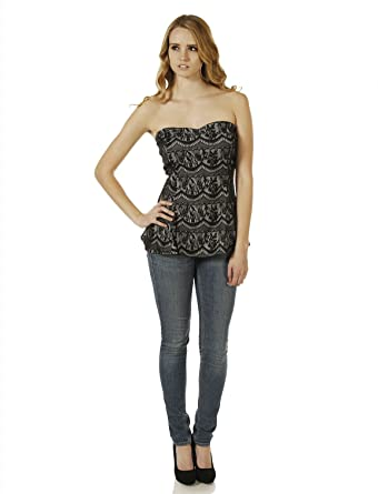 ffd51bc96c76 7Encounter Plus Lace Overlay Strapless Peplum Corset Style Top Black   Nude  1XL
