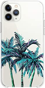 Cavka TPU Case Compatible with Apple iPhone 12 Mini 5G 11 Pro Xs Max X 8 Plus Xr 7 SE Palm Trees Slim fit Cute Flexible Silicone Tropical Glam Pink Graphic Print Design Nature Clear Girls Soft Woman