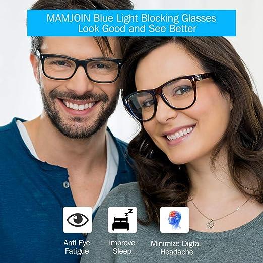 Non Prescription Bluelight Glasses Square Anti Eyestrain Computer Glasses UV Filter Blue Ray Blocker Glasses for Women Men Computer Phone Reading Game TV Leopard Mamjoin Blue Light Blocking Glasses