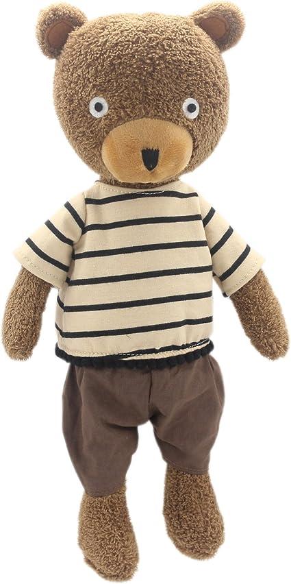 Striped Black, 9 Inch JIARU Stuffed Animals Toys Teddy Bear Plush Dressed Dolls with Removable Clothes