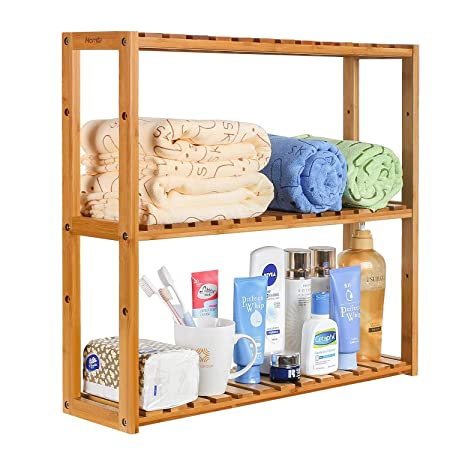 Homfa Bathroom Shelves 3 Tier Wall Shelf Kitchen Storage Unit Rack
