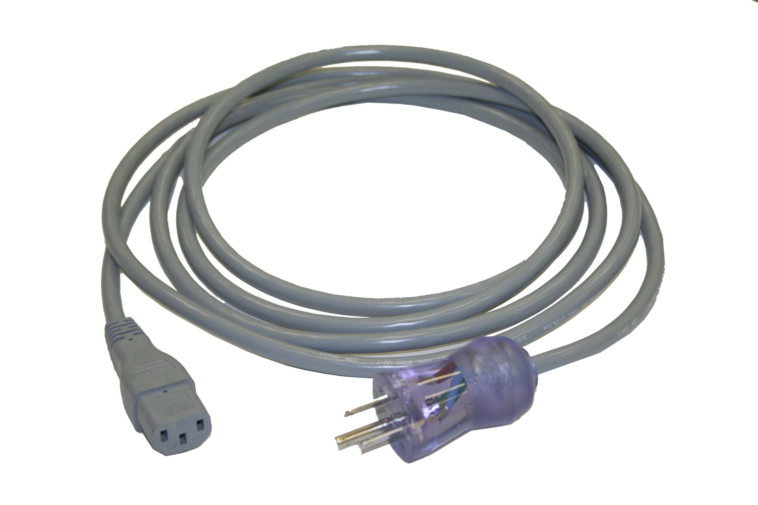 Interpower 86610301 North American Hospital Grade Cord Set, NEMA 5-15 Plug Type, IEC 60320 C13 Connector Type, Gray, 10A Amperage, 125VAC Voltage, 3m Length