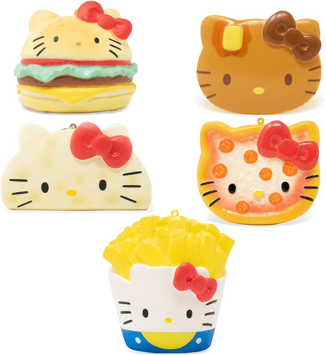 Hamee Sanrio Cute Hello Kitty Fastfoods Soft Stress Relief Squishy Toys - Set of 5