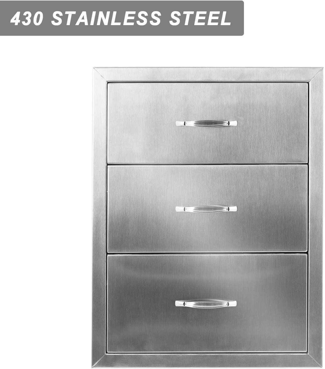 with Stainless Steel Handle BBQ Drawers for Outdoor Kitchens or BBQ Island Flush Mount Triple Drawers,18W x 20.5H x 20.7D Inch Mophorn 18x20.5 Inch Outdoor Kitchen Drawers Stainless Steel