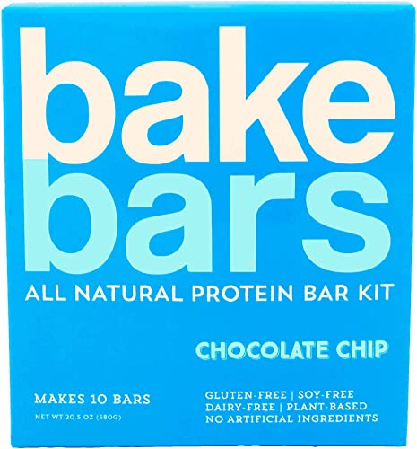 bakebars All-Natural Protein Bar Kit – Chocolate Chip – Includes Pre-Measured, Macro-Friendly Ingredients for 10 Nutrition Bars – Soy, Dairy Gluten-Free -Healthy Snack with Nutrients, Flavor Fiber