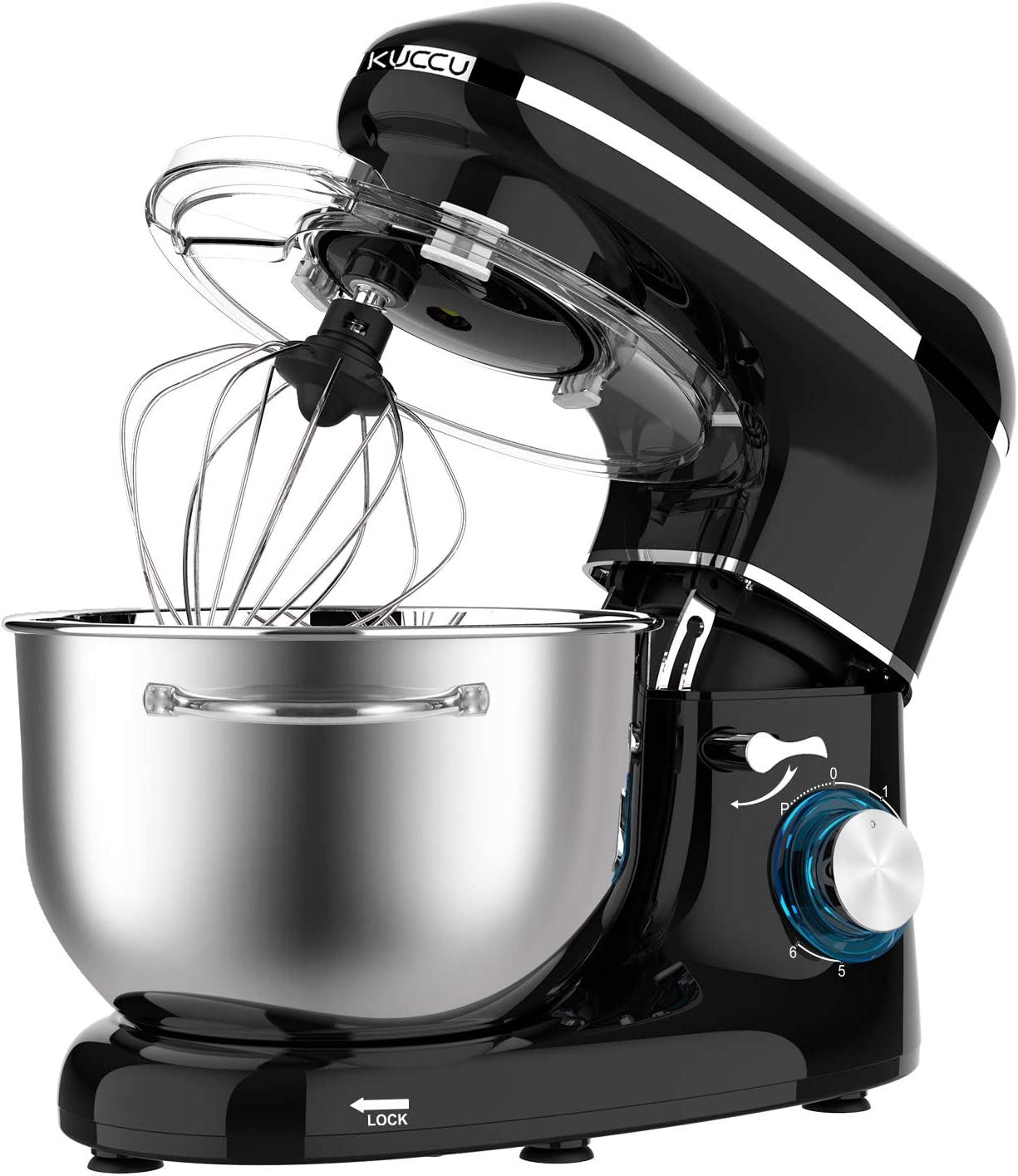Stand mixer,Kuccu 5.5 Quart Tilt-Head, 660w Electric Kitchen mixer, 6-Speeds With Stainless Steel Bowl,Dough Hook,Whisk, Beater,Egg white separator (5.5-QT, Black)