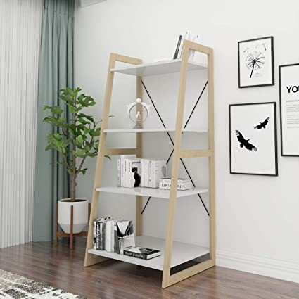 sports shoes 0c2e6 7a377 soges Ladder Shelf Bookcase 4-Tier Bookshelf Storage Rack Shelves Free  Standing Wooden Display Shelf Living Room Bathroom Decor, White, RF5523