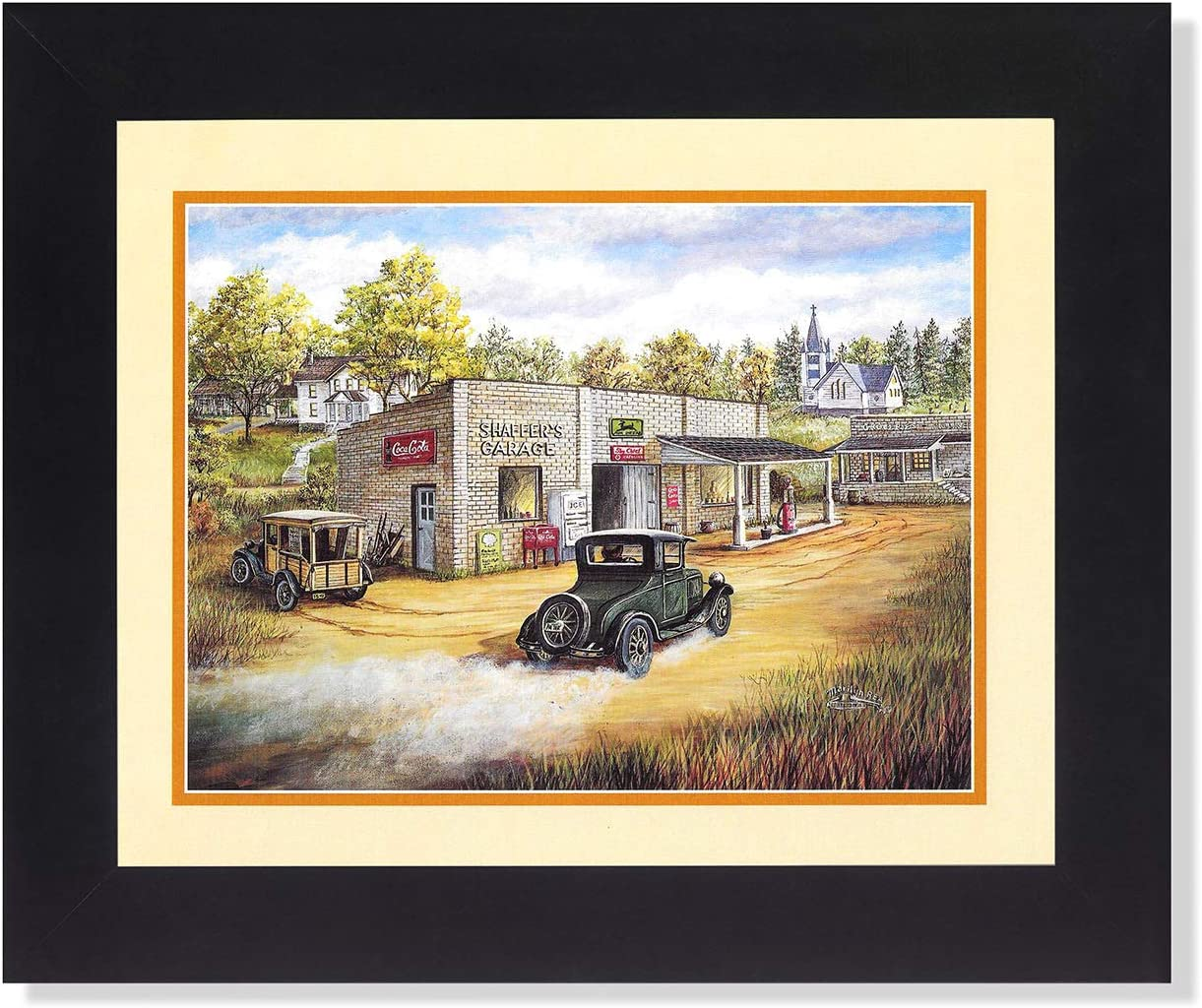 Country Garage Gas Station and Old Car Wall Picture 8x10 Art Print
