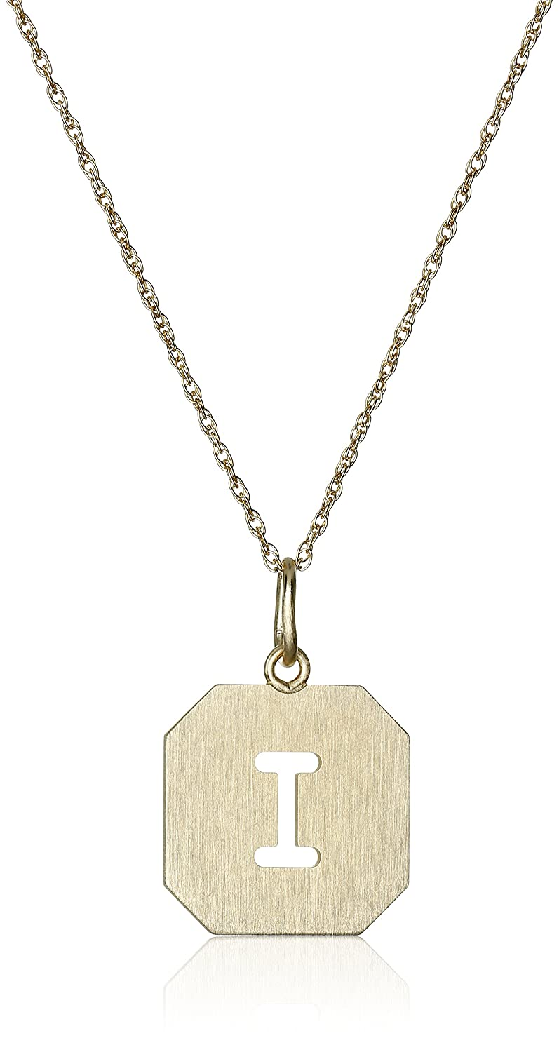 14k Gold-Filled Octagonal Pierced Initial Series Disc Charm with Satin Finish Pendant Necklace 18