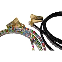 ATLanyards Set of 2 Eyeglass Chains for Women - Beaded 32 Color and Black with Gold Clip Grips - Glasses Chain Set - Eyeglass Strap Lanyard Around Neck (Medium)